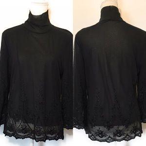 The limited lined shear blouse, Sz medium, black